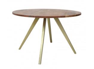 Kulatý jídelní stůl s dřevěnou deskou z akáciového dřeva Mimoso - Ø 120*75 cm