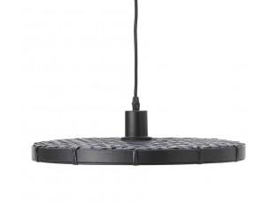 Černé ratanové světlo Paloma s výpletem - Ø 40*3cm / E27
