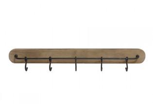 Nástěnný dřevěný věšák s háčky Paarl - 90*8*10cm