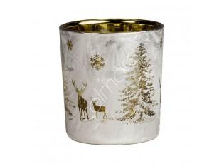 Bílo-zlatý skleněný svícen s jeleny Deer - Ø 7*8cm