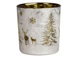 Veliký skleněný svícen s jeleny Deer - Ø 10*13cm