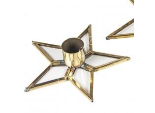 Zlatý kovový svícen ve tvaru hvězdy Vaan - 11*11*3cm