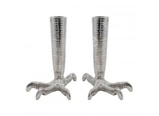 2ks stříbrný kovový svícen ve tvaru slepičích nohou Claw - 11*16*18cm