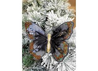 Černá třpytivá ozdoba motýl s flitry a korálky na klip  - 18*15 cm