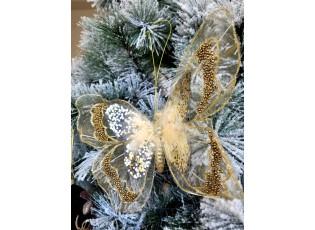 Zlatá třpytivá ozdoba motýl s flitry a korálky na klip  - 25*15 cm