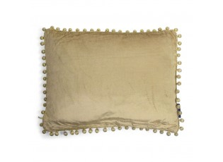 Zlatý sametový polštář s bambulkami Pomm - 35*45*10cm