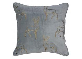 Šedý sametový polštář se zlatými jeleny - 45*45*16cm