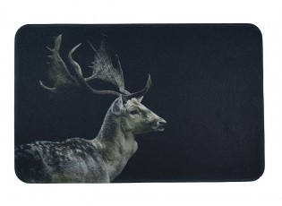 Černá podlahová rohožka s jelenem Deer - 75*50*1cm