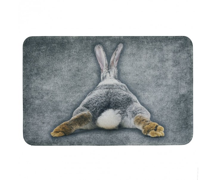 Šedá podlahová rohožka s králíčkem - 75*50*1cm