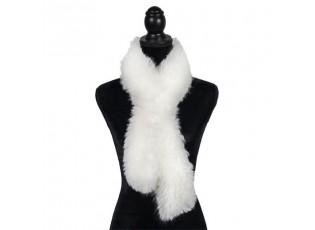 Bílá šála z ovčí vlny Shea - 15*110cm