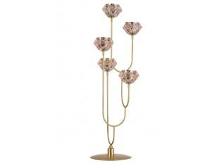 Zlatý kovový svícen na 5 svíček s růžovými svícny - 22*20*65cm