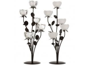 Set 2ks kovový svícen na čajovou svíčku s pěti skleněnými miskami ve tvaru květiny - 22*22*58 cm