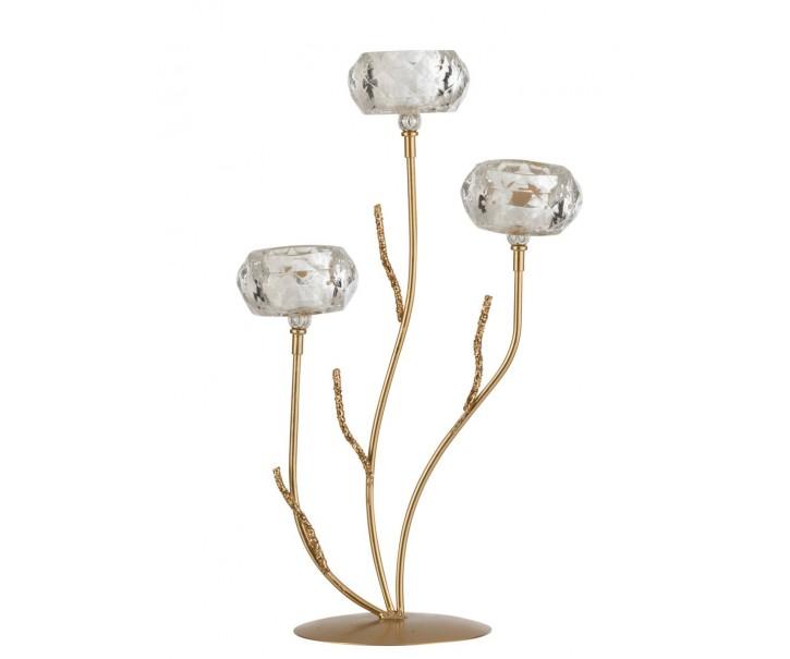 Zlatý kovový svícen na 3 svíčky se skleněnými svícny - 24*14*41cm