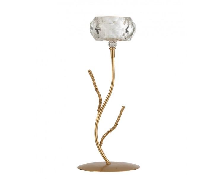 Zlatý kovový svícen na 1 svíčku se skleněným svícnem - 11*11*28cm
