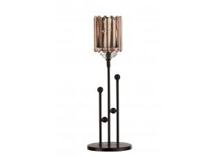Černý kovový svícen na čajovou svíčku se skleněnou miskou - 10*10*30cm