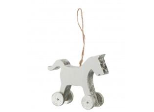 Závěsná dekorativní ozdoba dřevěného koníka na kolečkách - 11,5*3,5*9 cm