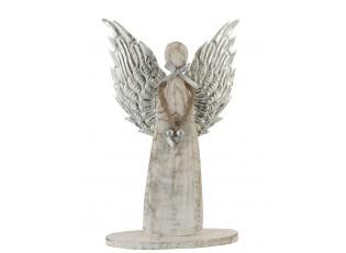 Dřevěný anděl  se stříbrnými křídly - 28*38*2cm