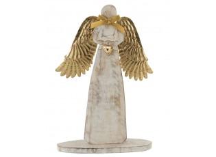 Dřevěný anděl  se zlatými křídly - 28*28*2cm