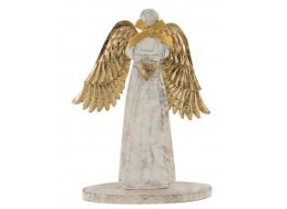 Dřevěný anděl  se zlatými křídly - 18*31*2cm