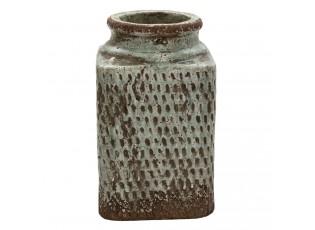 Šedá hranatá váza se vzorem a patinou Nyree - 16*16*27 cm