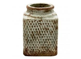 Šedá hranatá váza se vzorem a patinou Nyree - 15*15*21 cm