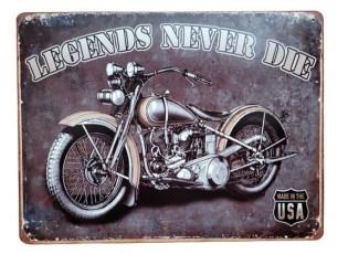 Nástěnná kovová cedule Legends never Die - 33*25 cm
