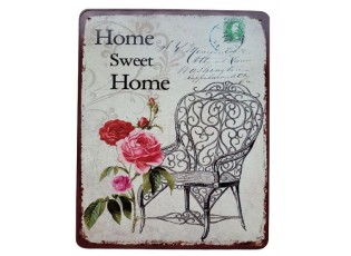 Nástěnná kovová cedule Home sweet Home - 20*25 cm