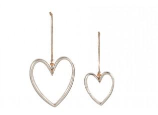 Set 2ks stříbrné kovové zvěsné srdce - 12*1*13cm