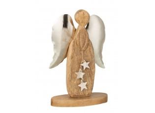 Dřevěný anděl s kovovými křídly - 15*6*26cm
