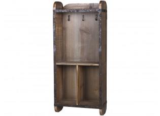 Hnědá dřevěná retro nástěnná skříňka na klíče - 26*12*60cm
