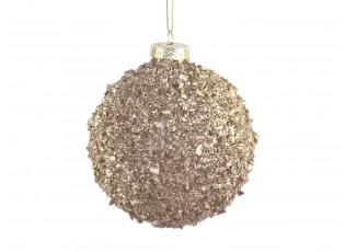 Zlatá skleněná vánoční koule s dílky - Ø  8cm