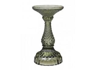 Zelený skleněný svícen Diamond - Ø 9*17 cm