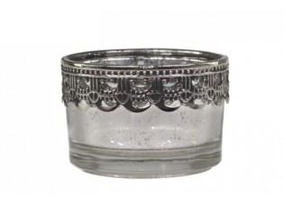 Malý skleněný svícen na čajovou svíčku Silve - Ø 5*3,5 cm