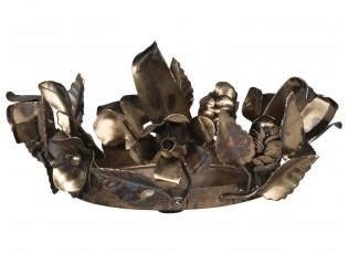 Mosazný antik kovový svícen s květy růže Rose - Ø 18*7 cm