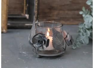 Kovovo - skleněný antik svícen s květy Flow - Ø 9*7 cm