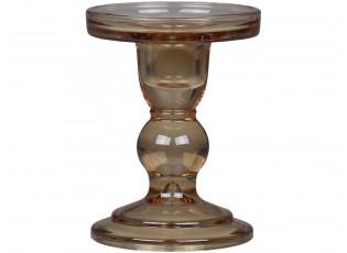 Karamelový skleněný svícen Pillar - Ø 8,5*11,5 cm