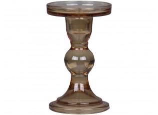 Karamelový skleněný svícen Pillar - Ø 8,5*14 cm