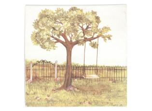 Obraz strom s houpačkou - 25*25*3 cm